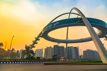 Biswa Bangla Gate by Construction Catalysers in Kolkata India  It is meant to be a gateway to the city of kolkata formerly calcutta and also houses a restaurant