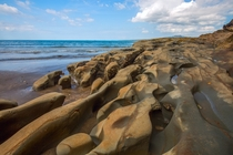 Bizarre Ocean-Eroded Rock Formation Takapuna Beach Auckland