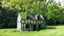 Black and white house in the woods in Herefordshire UK