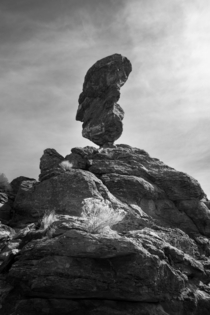 Black and White photo of Balanced Rock Idaho
