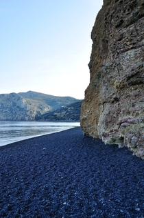 Black pebble beach in Chios Greece