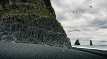 Black sand and basalt columns at Reynisfjara South Iceland