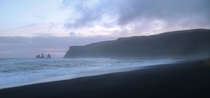 Black Sand Beach in Vik Iceland at Sunset