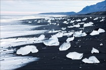 Black Sand Beach with Ice Blocks Alaska