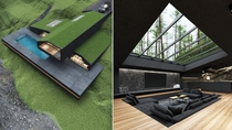 Black villa in Harriman State Park New York designed by Reza Mohtashami