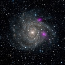 Blazing black holes spotted in spiral beauty galaxy IC  The black holes magenta are much brighter than typical stellar-mass black holes but they cannot be supermassive black holes or they would have sunk to the galaxys center