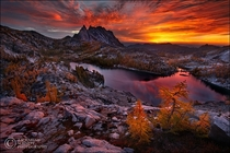 Blazing Enchantments at the Stuart mountains in Washington State Photo by Zack Schnepf