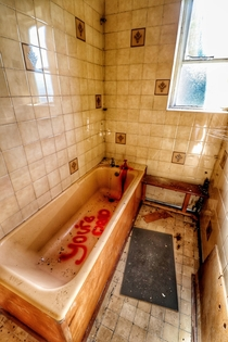 Blood Graffiti In Bathroom Of Abandoned Living Quarters In An RAF Base Really cool location surpsingly one of the only bits of graffiti there