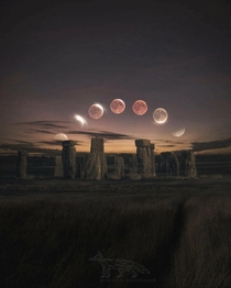 Blood Moon Eclipse over Stonehenge using  pictures to complete the image by Steve Sandner