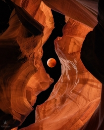Bloodmoon Canyon - Original composited Lunar Eclipse and Slot Canyon - Shared earlier without Cred Original Artist IG whereisweatherby