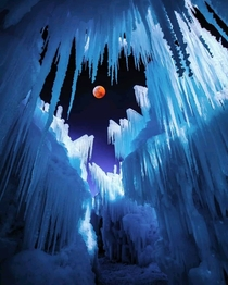 Bloody Icy Moon Eclipsed moon from an ice castle in Midway Utah