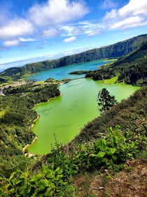 Blue and Green lake in the Azores Amazing sight