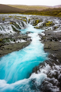 Blue Chasm - the powerful and crystal clear waters of Bruarfoss Iceland  IG BersonPhotos