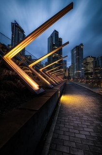 Blue hour last night in beautiful Vancouver I love the lights along this path X-Post from rVancouver