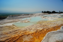 Blue pools formed by carbonate deposits Pamukkale Turkey