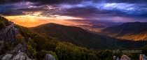 Blue Ridge Mountains Sunset Hawksbill Summit Virginia