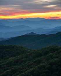 Blue Ridge Parkway Sunset North Carolina