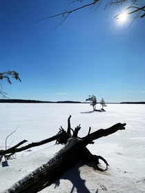 Blue skies over Big Rideau Lake Ontario Canada  OC