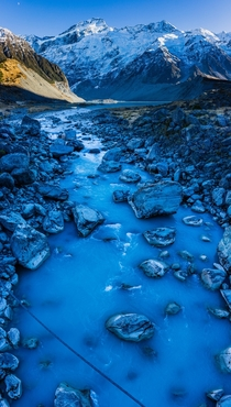 Blue water running from a glacier in Mt Cook National Park NZ