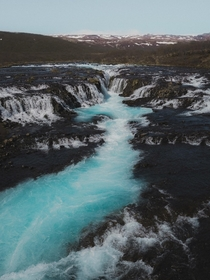 Blue waterfall in Iceland
