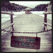 Boat dock closed upstate New York Mohonk Mountain House