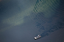Boat leaves ripples in Arizona