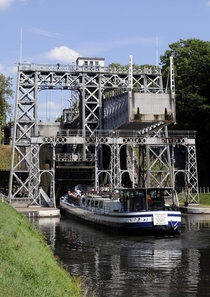 Boat Lift on the Canal du Centre Belgium There are four near-identical lifts on the canal with the first being built in  Today they are a world heritage site
