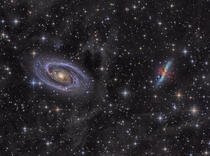Bodes Galaxy M the Cigar Galaxy M and a bunch of space dust IFN