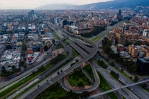 Bogot Colombia where an empty cloverleaf tells the story of a city on lockdown