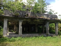 Bombed-out headquarters of the Japanese WWII operation on Peleliu in the middle of the Pacific