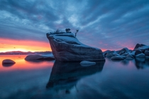 Bonsai Rock Lake Tahoe NV Christmas sunset