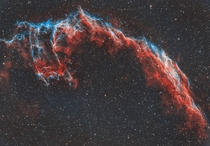 Born from the Death Explosion of a massive star the Eastern Veil Nebula is a large expanding cloud I captured it with almost  hours of exposure time