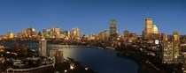 Boston and Cambridge Massachusetts at dusk with Charles River