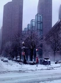 Boston holocaust memorial snow