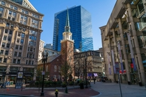 Boston my nominee for the YoungOld Hall of Fame The Church where the Tea Party began across from Ben Franklins birth spot under a glass tower