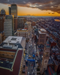 Boston sunset tonight theyre almost all set up at the finish line for the Boston Marathon on Monday