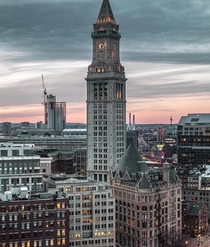 Bostons Custom House Tower at twilight