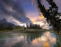 Bow River near Dead Man Flats Just East of Banff National Park Alberta  by Ron Richey