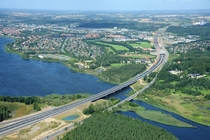 Brand new highway in Denmark through the town of Silkeborg