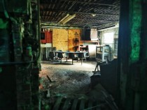 Break room in an abandoned plastics factory in Indiana Love the light  OC
