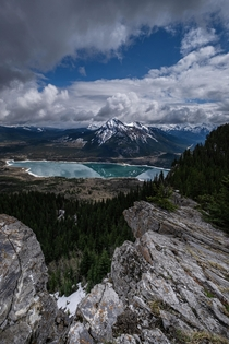 Breathtaking view of Barrier Lake in Alberta