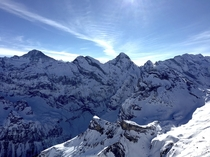 Breathtaking view of the Jungfrau region from the top of Schilthorn Near Lauterbrunnen Switzerland