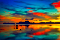 Breathtaking view of the low tide sunset in El nido Palawan Philippines