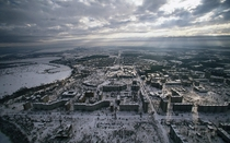 Breathtaking winter view of the abandoned city of Pripyat Ukraine
