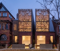 Brick patterned screens on a couple of Victorian homes in Toronto