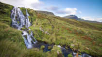 Brides Veil Falls Isle of Skye Scotland With the Old Man of Storr in the distance