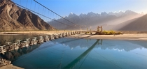 Bridge across the Saltoro River Pakistan  by Yury Pustovoy