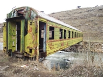 Bridge made out of an abandoned train-car