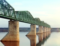 Bridge over the Kama river near the Russian city Perm