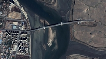 Bridge to Nowhere - spanning from Dandong China into North Korean fields